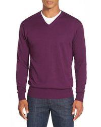 Peter Millar - Purple Silk Blend V-neck Sweater for Men - Lyst