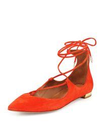 Aquazzura - Red Christy Lace-Up Flats - Lyst