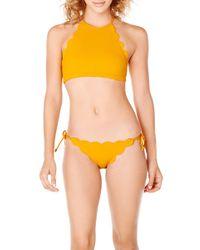 Marysia Swim Orange Papaya Mott Scalloped Bikini Top