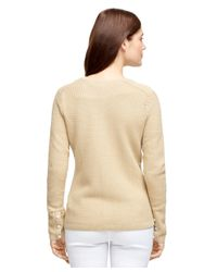 Brooks Brothers - Natural Textured Cotton Cardigan - Lyst