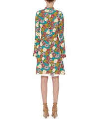 Marni - Multicolor Long Sleeved Floral Printed Georgette Dress - Lyst