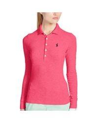 Ralph Lauren Golf - Pink Slim-fit Long-sleeved Polo - Lyst