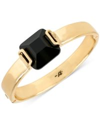 Kenneth Cole | Metallic Gold-tone Black Stone Hinged Bangle Bracelet | Lyst