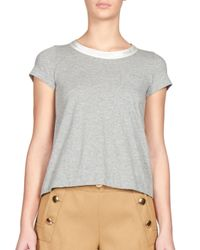 Sacai - Gray Luck Satin-back Jersey Tee - Lyst
