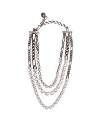 Lanvin | Metallic Rive Triple-strand Pearly Necklace | Lyst