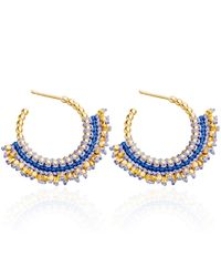 Astley Clarke | Blue Indigo Woven Hoop Earrings | Lyst