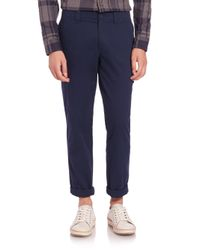 Lacoste | Blue Gabardine Cargo Pants for Men | Lyst