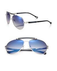 Ermenegildo Zegna Blue Metal & Resin Aviator Sunglasses for men