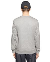 EA7 - Gray Logo Printed Cotton Sweatshirt for Men - Lyst
