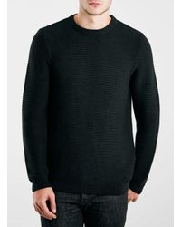 TOPMAN - Black Horizontal Rib Crew Neck Sweater for Men - Lyst