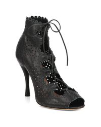 Tabitha Simmons | Black Bonai Perforated Leather Lace-Up Booties | Lyst