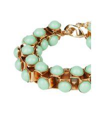 AKIRA - Green Chained Cabochon Bracelet in Mint - Lyst