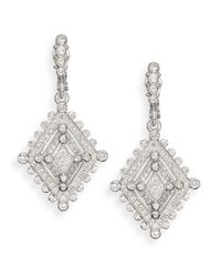 Judith Ripka | Metallic White Sapphire & Sterling Silver Deco Drop Earrings | Lyst