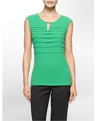 Calvin Klein | Green White Label Keyhole Cutout Pleated Chiffon Sleeveless Top | Lyst
