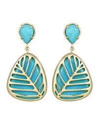 Kendra Scott - Blue Stella Doubledrop Leaf Earrings Turquoise - Lyst