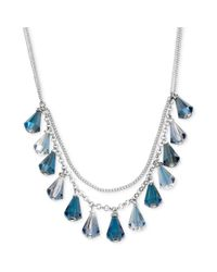 Kenneth Cole - Blue New York Silvertone Shaky Faceted Bead Frontal Necklace - Lyst