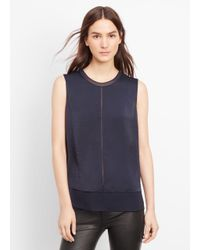 VINCE | Blue Sleeveless Mixed Media Overlay Blouse | Lyst