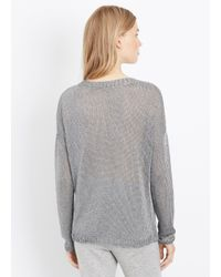 Vince | Metallic Knit Crew Neck Sweater | Lyst