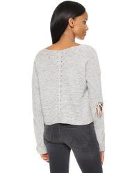 Wildfox - Gray Terra Crop Sweater - Heather Grey - Lyst