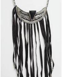 ASOS | Black Warrior Fringe Necklace | Lyst
