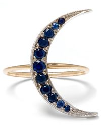 Andrea Fohrman | Metallic Medium Gold Sapphire Luna Crescent Moon Ring | Lyst
