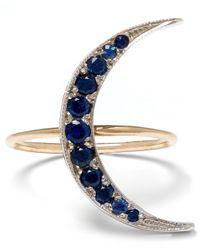 Andrea Fohrman | Metallic Medium Gold Sapphire Luna Crescent Moon Ring | Lyst
