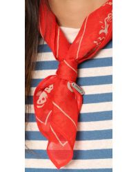 Chan Luu - Red Handkerchief Scarf - Black/white - Lyst