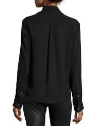 McQ Alexander McQueen - Black Silk Embroidered Peplum Shirt - Lyst