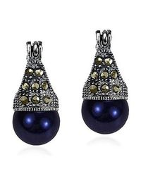 Aeravida | Blue Vintage Flair Marcasite And Created Black Pearl .925 Silver 8mm Earrings | Lyst