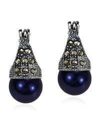 Aeravida - Blue Vintage Flair Marcasite And Created Black Pearl .925 Silver 8mm Earrings - Lyst