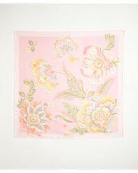 Ferragamo - Light Pink Tropical Floral Print Silk Scarf - Lyst