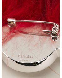 Fendi - Red Crystal And Fox Fur Brooch - Lyst