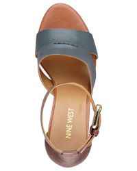 Nine West | Blue Checkmayt Leather Wedge Sandals | Lyst