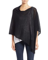 Eileen Fisher | Black Asymmetrical Wool Poncho | Lyst