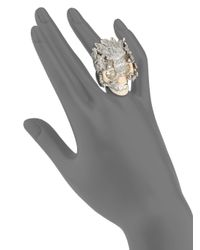 Alexander McQueen | Metallic Crystal Double Stud Bypass Ring | Lyst