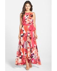 Eliza J Floral Print Chiffon Maxi Dress In Red Pink Red