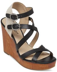 Lucky Brand | Black Women's Lahoya Strappy Platform Wedge Sandals | Lyst