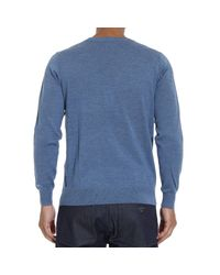 Armani Jeans - Blue Sweater Crewneck Basic With Logo for Men - Lyst