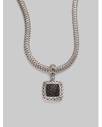 John Hardy | Classic Chain Black Sapphire & Sterling Silver Medium Square Pendant | Lyst