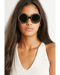 Forever 21 - Black Rad And Refined Bejeweled Round Sunglasses - Lyst