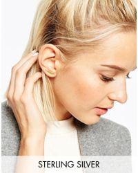 ASOS - Metallic Gold Plated Sterling Silver Graduated Bar Ear Crawler - Lyst