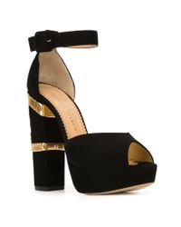 Charlotte Olympia - Black Isadora Suede And Mesh Sandals - Lyst
