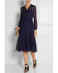 Burberry Prorsum - Blue Striped Wool And Silk-Blend Midi Dress - Lyst