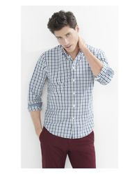 Express - Blue Soft Wash Check Plaid Shirt - Teal for Men - Lyst