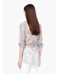 Mango - Multicolor Flowy Printed Blouse - Lyst