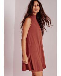 Missguided - Brown High Neck Sleeveless Swing Dress Rust - Lyst