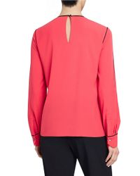 Ellen Tracy - Pink Contrast Piped Blouse - Lyst