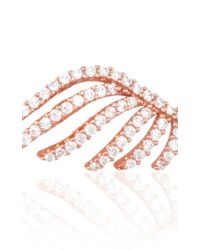 Fallon - Pink Rose Gold Cubic Zirconia Crystal Pave Wing Earrings - Lyst