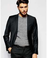 Noak | Black Flannel Wool Blazer In Super Skinny Fit for Men | Lyst