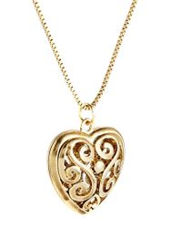 ASOS - Metallic Filigree Heart Long Necklace - Lyst